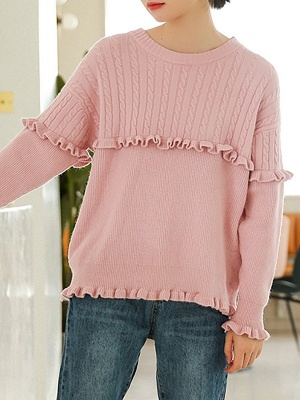 Crew Neck Casual Solid Long Sleeve Sweater_2