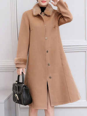 Casual Buttoned Long Sleeve Shirt Collar A-line Pockets Fluffy  Coat_2