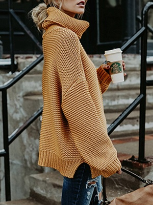 Knitted Casual Shift Long Sleeve Sweater_13
