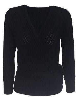 Casual Long Sleeve Shift V neck Sweater_4