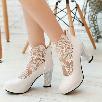 Mesh Fabric Zipper Round Toe Embroidery Boots_1