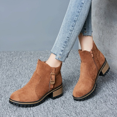 Buckle Chunky Heel Daily Round Toe Zipper Boots_8