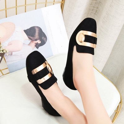Daily Chunky Heel Suede Square Toe Loafers_1