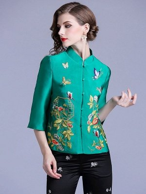 Vintage Buttoned Embroidered 3/4 Sleeve Coat_9