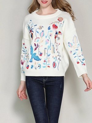 Long Sleeve Embroidered Casual Sweater_1