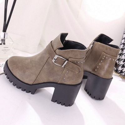 Zipper Daily Round Toe Buckle Chunky Heel Boots_10