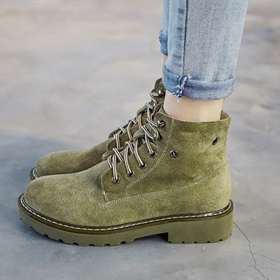 Leather Chunky Heel Lace-up Round Toe Boots_3