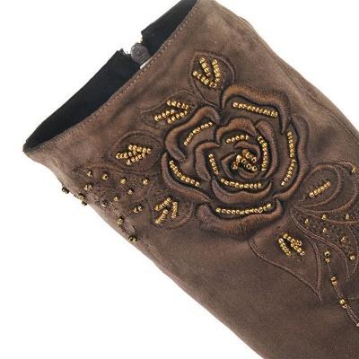 Women's Boots Stiletto Heel Flower Pointed Toe Elegant Black Boots_10