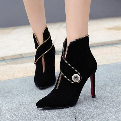 Zipper Daily Stiletto Heel Suede Pointed Toe Elegant Boots_2