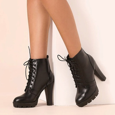Chunky Heel PU Lace-up Boots