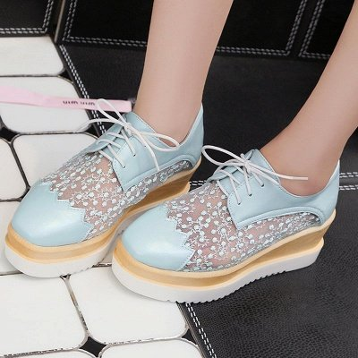 Mesh Lace-up Daily PU Pointed Toe Wedge Loafers_3