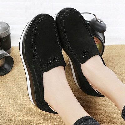 Wedge Heel Daily Round Toe Casual Loafers_3