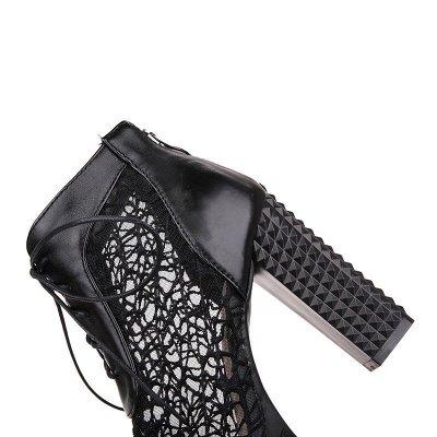 Chunky Heel Lace-up Peep Toe Elegant Boots_13