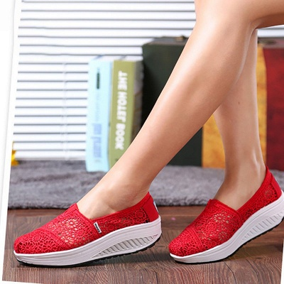 Lace Daily Breathable Fabrics Summer Round Toe Loafer Shoes_19