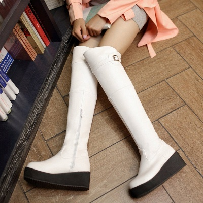 Women's Boots Wedge Heel Black Round Toe Boots_7