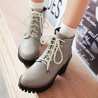 PU Lace-up Daily Round Toe Chunky Heel Boot_5