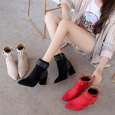 Suede Chunky Heel Daily Lace-up Rivet Boots_9
