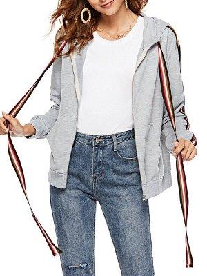 Gray Shift Hoodie Pockets Casual Zipper Paneled Coat_1