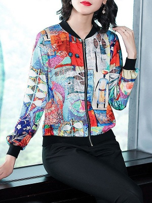 White Long Sleeve Casual Printed Abstract Crew Neck Coat_5
