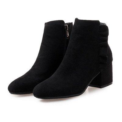 Chunky Heel Zipper Elegant Round Toe Boots_2