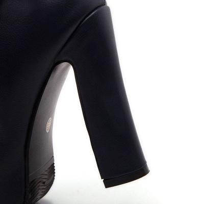 Daily Chunky Heel Zipper Tie Round Toe Elegant Boots_11