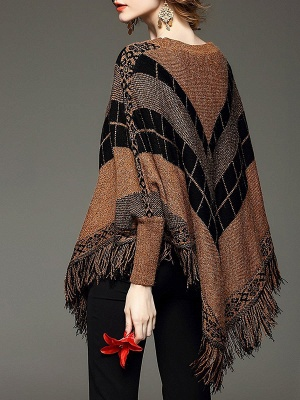 Shift Batwing Fringed Casual Sweater_5