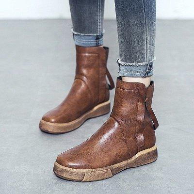 Zipper Daily Round Toe Flat Heel Boots_8