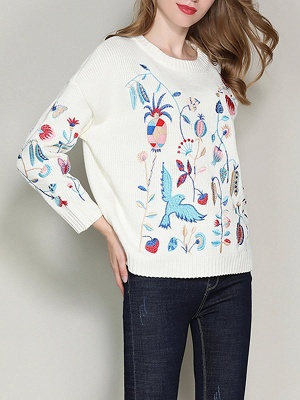 Long Sleeve Embroidered Casual Sweater_8