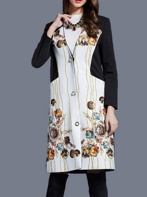 White Buttoned Elegant Printed Coat_4
