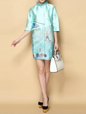 Printed Shift Half Sleeve Casual Stand Collar Coat_3