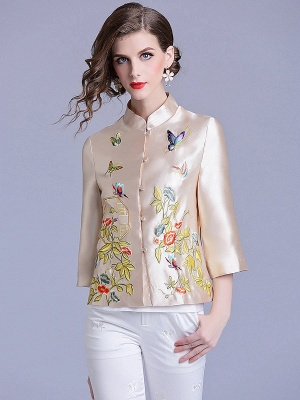 Vintage Buttoned Embroidered 3/4 Sleeve Coat_1