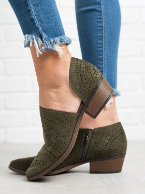Hollow-out Low Heel Summer Faux Suede Boot_3