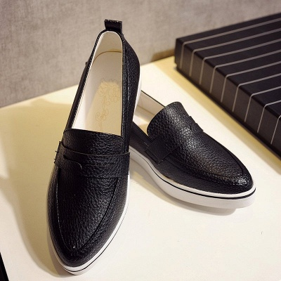 Casual  Pointed Toe Wedge Loafers_12