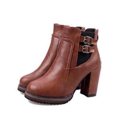 PU Buckle Round Toe Chunky Heel Boot_7