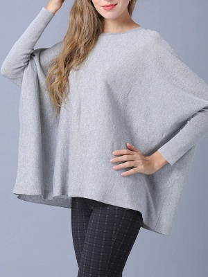 Solid Batwing Casual Knitted Crew Neck Sweater_17