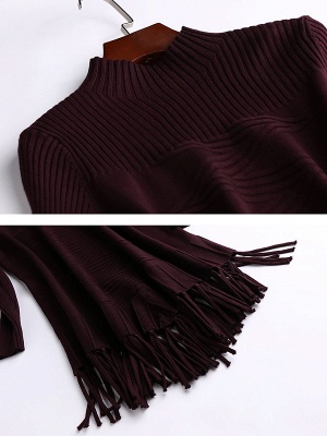 Burgundy Geometric Sheath Casual Sweater_5
