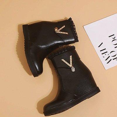 Rhinestone Round Toe Zipper Elegant Wedge Heel Boots_8
