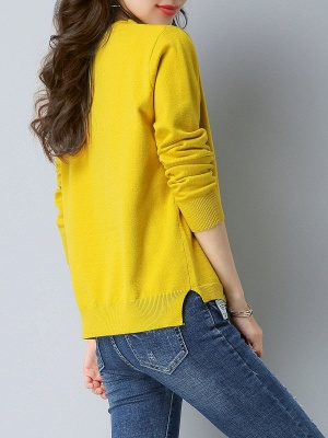 Choker Neck Long Sleeve Solid Sweater_4