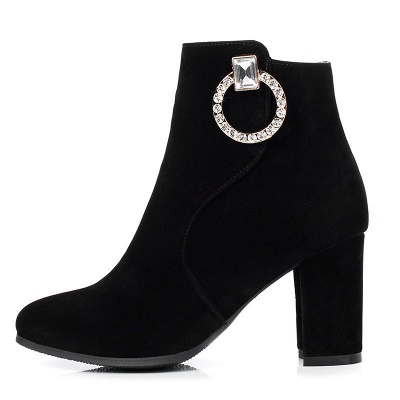 Suede Chunky Heel Working Square Toe Boots_10