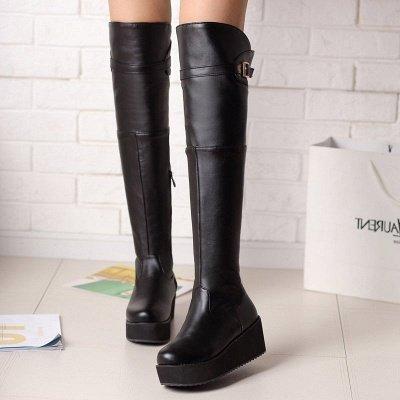 Women's Boots Wedge Heel Black Round Toe Boots_5