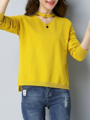 Choker Neck Long Sleeve Solid Sweater_9