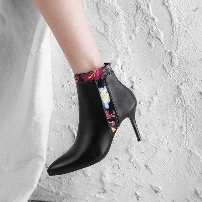 Zipper Daily Pointed Toe Elegant Stiletto Heel Boots_5