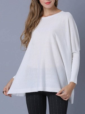 Solid Batwing Casual Knitted Crew Neck Sweater_7