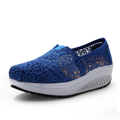 Lace Daily Breathable Fabrics Summer Round Toe Loafer Shoes_5