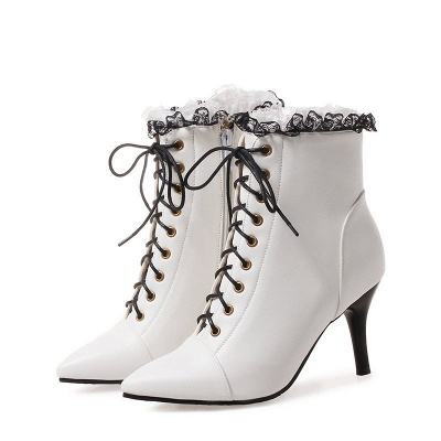 Date Fall Stiletto Heel Lace-up Pointed Toe Boots_1