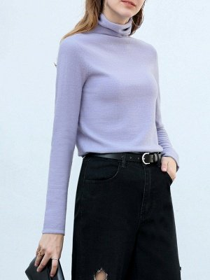Casual Shift Long Sleeve Solid Turtleneck Sweater_4