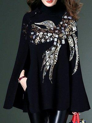 Black Elegant Shift Glitter-finished Animal Sweater_1