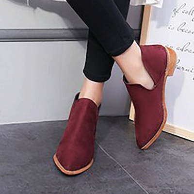 Chunky Heel Daily Pointed Toe Elegant Suede Boots_4