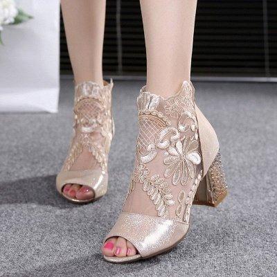 Romantic  Mesh Chunky Heels_3