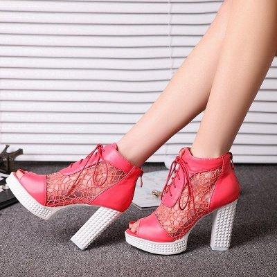 Chunky Heel Lace-up Peep Toe Elegant Boots_1